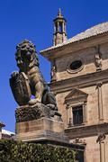 Lion statue with shield at Ubeda city, Jaen province, Andalusia, Spain Stock Photos