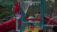 Stock Video Footage of Sprinkler Fun at Community Pool (1 of 2)