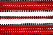 Stock Photo of ukrainian national red and black ornament embroidery closeup