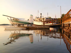 Seaplane docked in marina 02 Stock Footage