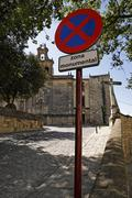 prohibition sign of prohibited parking near the church of Ubeda - stock photo