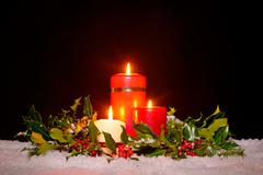 Christmas candles with garland, Stock Photos