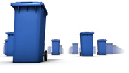 Stock Video Footage of Endless Trashcans low angle loop (Blue)