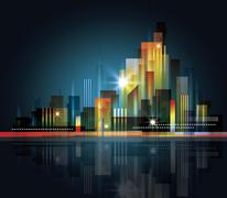 city skyline with reflection in water - stock illustration
