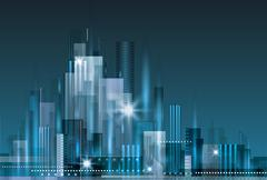 Abstract modern city skyline Stock Illustration