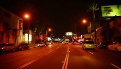 Driving POV Los Angeles 16 Sunset Strip Night USA 60 seconds Stock Footage