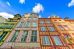 Old wooden facades in rouen. normandy, france. Stock Photos