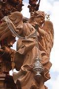Archangel sculpted in cedar wood, art of baroque style in holy week, spain Stock Photos