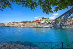 oporto or porto skyline, douro river and iron bridge. portugal, europe. - stock photo