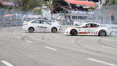 Show Drift Car In Toyota Motor Sport Thailand 2013 Stock Footage