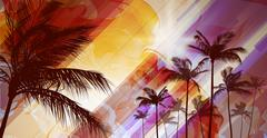 Palm tree landscape at tropical sunset Stock Illustration
