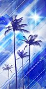 Palm tree landscape at tropical sunset - stock illustration