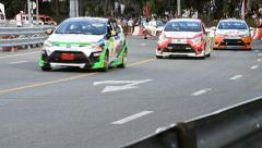 Racing Car Yaris One Make Race In Toyota Motor Sport Thailand 2013 Stock Footage