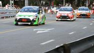 Stock Video Footage of Racing Car Yaris One Make Race In Toyota Motor Sport Thailand 2013