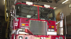 Boston Firetruck sitting in station Stock Footage