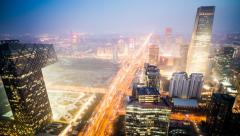 Beijing City CBD sunset time lapse,Prores422 HQ Stock Footage