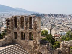 herodus atticus in acropolis athens - stock photo