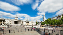 Long exposure time lapse of Trafalgar Square zooming in Stock Footage