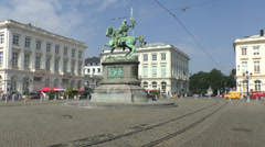 Stock Video Footage of Tram moving through Place Royale (or Koningsplein) in Brussels, Belgium.