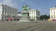 Tram moving through Place Royale (or Koningsplein) in Brussels, Belgium. - stock footage