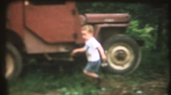 Vintage home movies, child and hammer Stock Footage