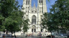 The St. Michael and Gudula Cathedral, Brussels, Belgium. Stock Footage