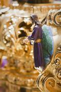 altarpiece or cartela of high relief polychrome docked and decorating  - stock photo