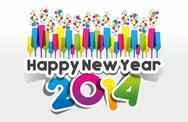 Stock Illustration of Colorful Abstract Happy New Year 2014 Card