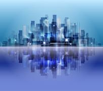 City skyline with reflection in water Stock Illustration