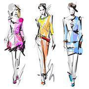 fashion models. sketch. - stock illustration