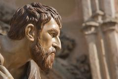 Figure carved in wood of judas iscariot, brotherhood of the santa cena sacram Stock Photos