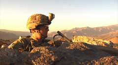 U.S. infantry soldier in an observation post - stock footage