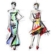 fashion models. sketch. - stock illustration