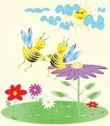 Cute cartoon bees on the flower Stock Illustration