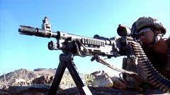 U.S. infantry soldier machine gunner Stock Footage