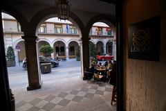 Arcades in street of angel ganivet, Granada, Spain Stock Photos