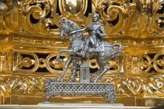 Caller silver throne in holy week, spain Stock Photos