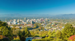 Panning View of Asheville City Downtown from Town Mountain Stock Footage