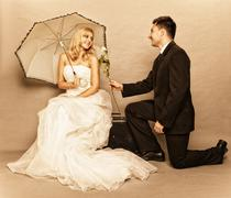 romantic married couple bride groom vintage photo - stock photo