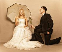 Stock Photo of romantic married couple bride groom vintage photo