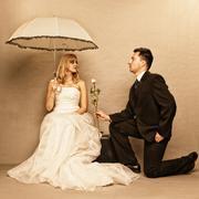 romantic married couple bride groom vintage photo - stock photo