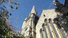 Church with steeple in London near Regent's Park Stock Footage
