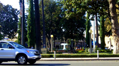Business District Historic City Square With Fountain- Orange CA Stock Footage