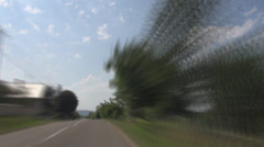 Timelapse POV, point of view speed car driving rural tree motion fast village  Stock Footage
