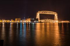 Duluth skyline at night Stock Photos