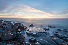 sunriselake superior - stock photo