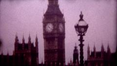Historical film Big Ben and Palace of Westminster travel destination Stock Footage