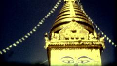 Historical film buddhist temple Swayambhu in Kathmandu, Nepal travel destination Stock Footage