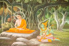 Traditional thai style art with the story about buddha. Stock Photos
