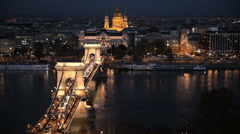 Budapest Chain Bridge Night Stock Footage